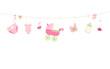 Baby shower card. Baby girl hanging symbols illustration