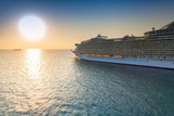 Cruise Ship Sailing at Sunset