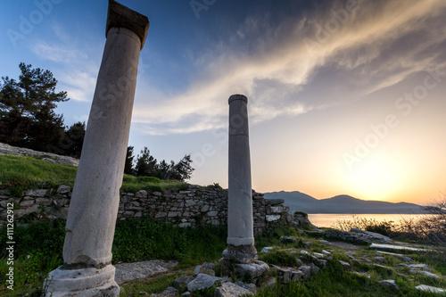 Zdjęcia na płótnie, fototapety, obrazy : Sunset Lanscape on Evraiokastro Archaeological Site, Thassos town, East Macedonia and Thrace, Greece