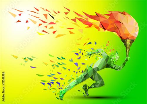 Fototapeta runner with olympic flame
