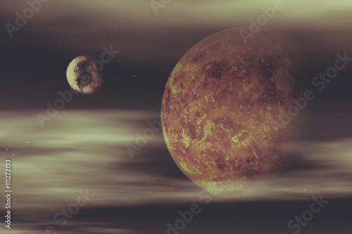 Poster 3D space background with fictional planets