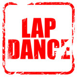 lap dance, red rubber stamp with grunge edges