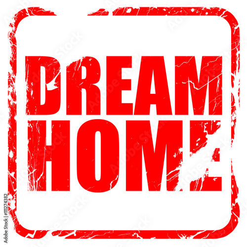 Fotobehang Rood dream home, red rubber stamp with grunge edges