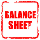 balance sheet, red rubber stamp with grunge edges