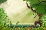 Fototapety Watercolor Style Digital Artwork: The Sunlight Near Forest River Sides. Realistic Fantastic Cartoon Style Character, Background, Wallpaper, Story, Card Design