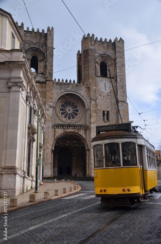 Tram and the Cathedral in Alfama