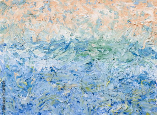 Obraz Summer abstract oil painting background. Palette knife oil paint.