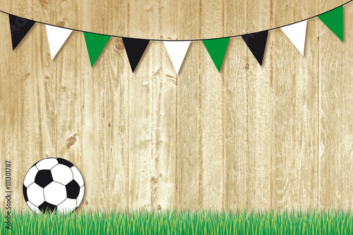 Poster soccer background with pennants black, white, and green