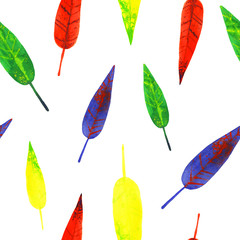 watercolor color four autumn leaves pattern