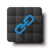 Flat Links icon on black app button with drop shadow