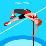 Athletics Pole Vault Summer Games Icon Set.3D Isometric Athlete.Sporting Championship International Athletics Competition.Sport Infographic Pole Vault Athletics High Jump Vector Illustration
