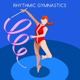 Rhythmic Gymnastics Ribbon Summer Games Icon Set.3D Isometric Gymnast.Sporting Championship International Competition.Sport Infographic Rhythmic Gymnastics Vector Illustration