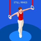 Gymnastics Still Rings Summer Games Icon Set.3D Isometric Gymnast.Sporting Championship International Competition.Sport Infographic Artistic Gymnastics Vector Illustration