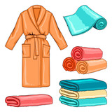 Spa set with bathrobe and towels