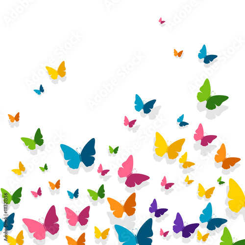 Fototapeta Vector Illustration of a Background with Colorful Paper Butterflies
