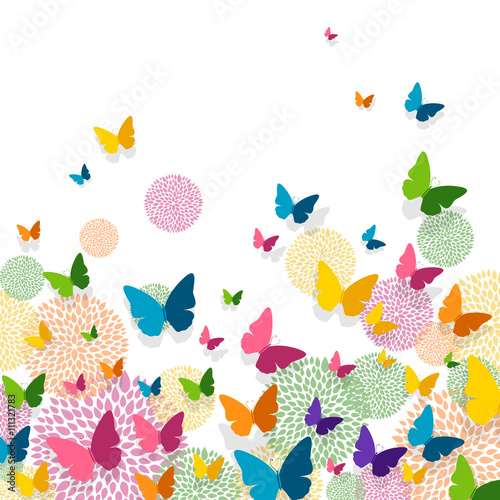 Zdjęcia na płótnie, fototapety, obrazy : Vector Illustration of a Greeting Card Design with Colorful Paper Butterflies and Floral Elements