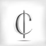 Dollar cent, eurocent currency symbol 3D metal alloy
