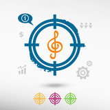 Treble clef on target icons background