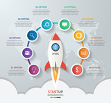 Startup vector circle infographics with rocket launch and styled world map