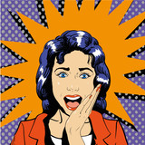 Surprised woman face with open mouth. Vector illustration in retro pop art comic style. Wow effect