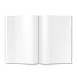 Fototapety Blank Opened Magazine, Book, Booklet, Brochure. On White Background Isolated. Mock Up Template Ready For Your Design. Product Packing Vector EPS10