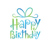 """HAPPY BIRTHDAY"" Festive Tree font card (blue and green)"