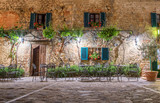 Walls of old house in Tuscany town Monterigioni (Italy)