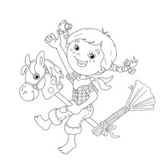 Coloring Page Outline Of cartoon Girl playing cowboy with toy ho