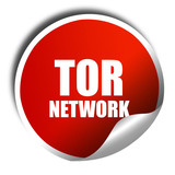 tor network, 3D rendering, red sticker with white text