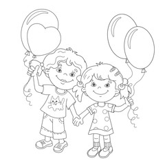 Coloring Page Outline Of cartoon girls with balloons