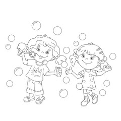 Coloring Page Outline Of girls blowing soap bubbles together