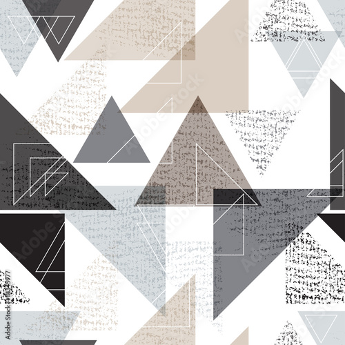 Seamless universal geometric modern pattern. Grunge texture. Triangles. Vector illustration. Abstract geometric shapes - 111345977