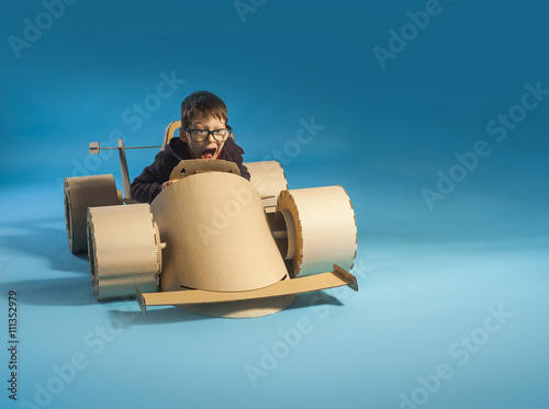 Poster Cardboard racing car
