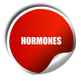 hormones, 3D rendering, red sticker with white text