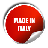 Made in italy, 3D rendering, red sticker with white text