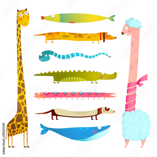 mata magnetyczna Fun Cartoon Long Animals Illustration Collection for Kids Design