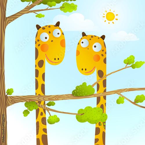 Fototapeta Fun Cartoon Baby Giraffe Animals in Wild for Kids Drawing