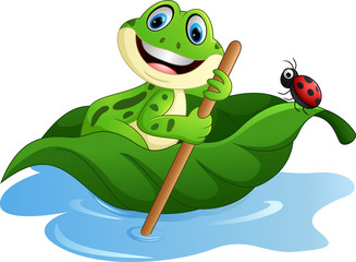 cartoon frog paddle leave