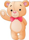 Cute cartoon teddy bear waving