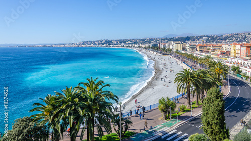 Foto op Aluminium Nice Nice visit card view on the bay of Angels, France