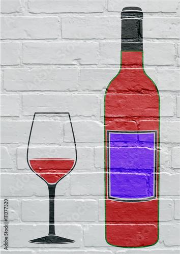 Art urbain, bouteille et verre de vin Poster
