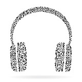 Headphones made of music notes. Black notes pattern. Black and white design. Earphone shape. Poster and decoration idea.
