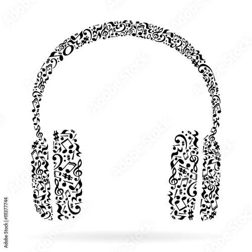 Fototapeta Headphones made of music notes. Black notes pattern. Black and white design. Earphone shape. Poster and decoration idea.