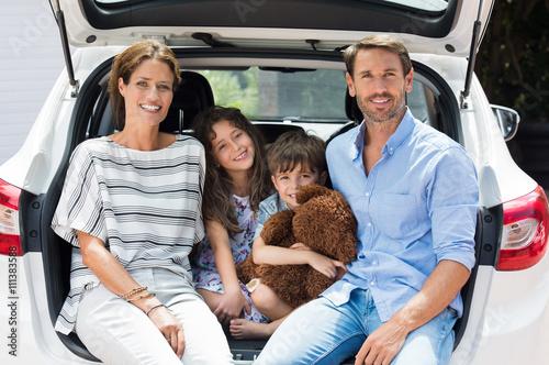 Family on car trip