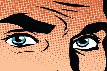 Retro male blue eyes pop art