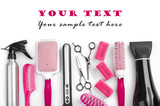 Fototapety Hairdresser salon tools isolated on white with sample text space