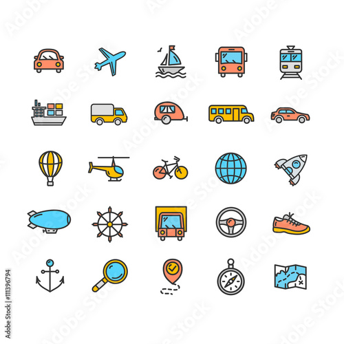 Transportation Outline Icon Set. Vector