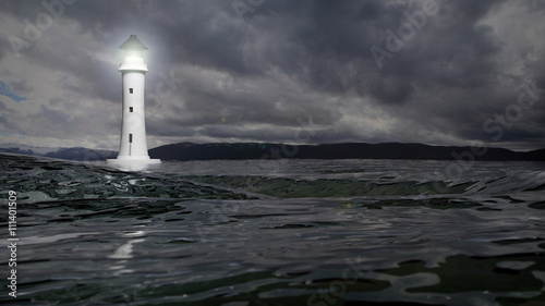 3D rendering of a lighthouse and sea waters on stormy day, seascape - 111401509