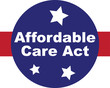 Affordable Care Act words with red, white and blue and stars web or graphic icon