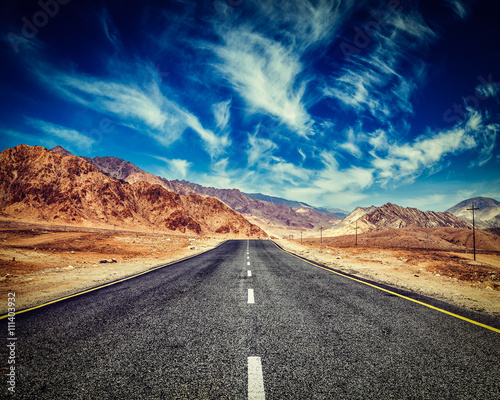Road in Himalayas with mountains - 111403932